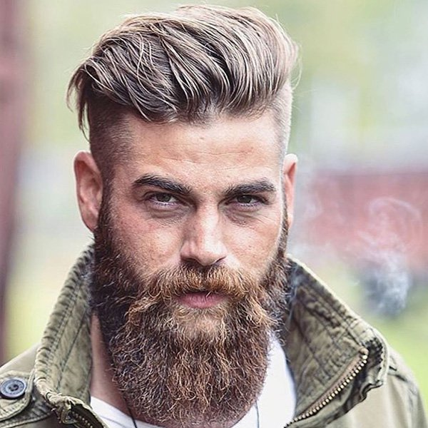 1. Semi-long on top with faded sides and a long beard