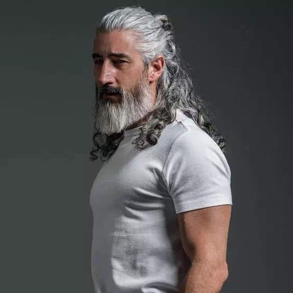 10. Spartan style hair with beard for the mature man
