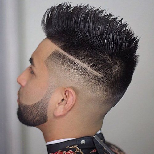 10 - Burst fade mohawk with tapered beard