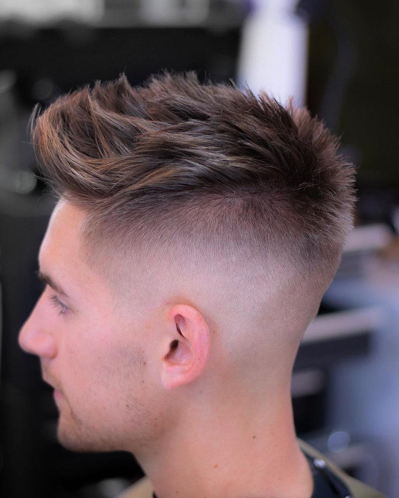 3 - Textured Spiky Hair with Skin Fade and Line Up