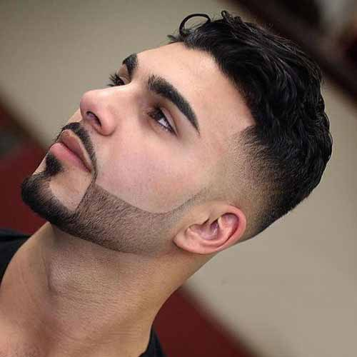 3 - Tousled low fade haircut with beard