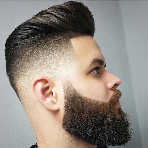 6 - Low fade haircut with full beard