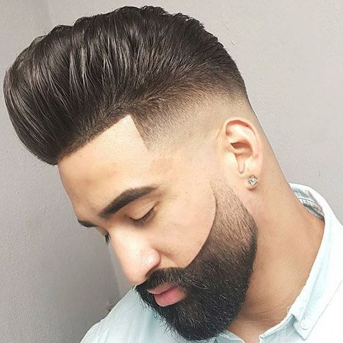 7 - Brushed back fade with cool beard fade