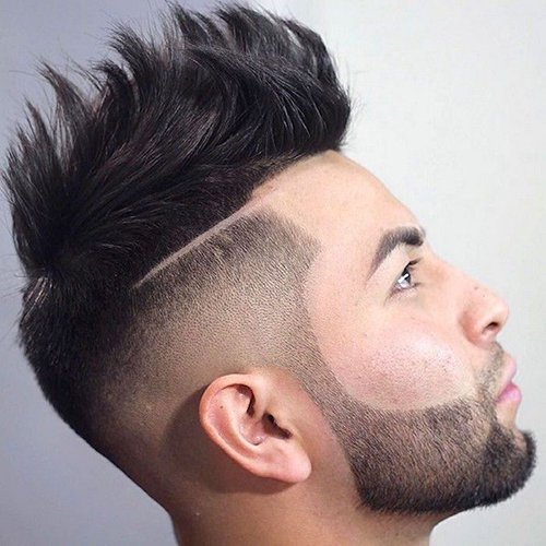 7 - Haircut fade with beard and mohawk