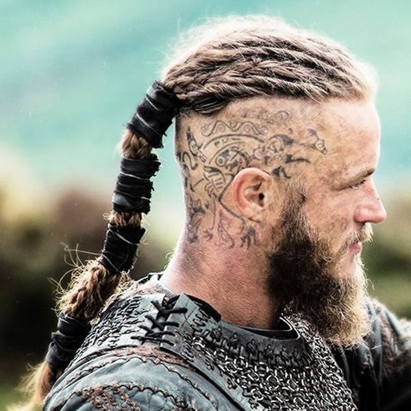 8. Spartan-style braids with a pointed beard