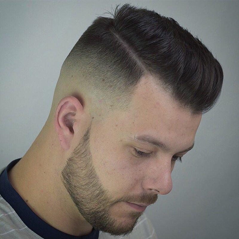 8 - Hard Part Pompadour with High Fade