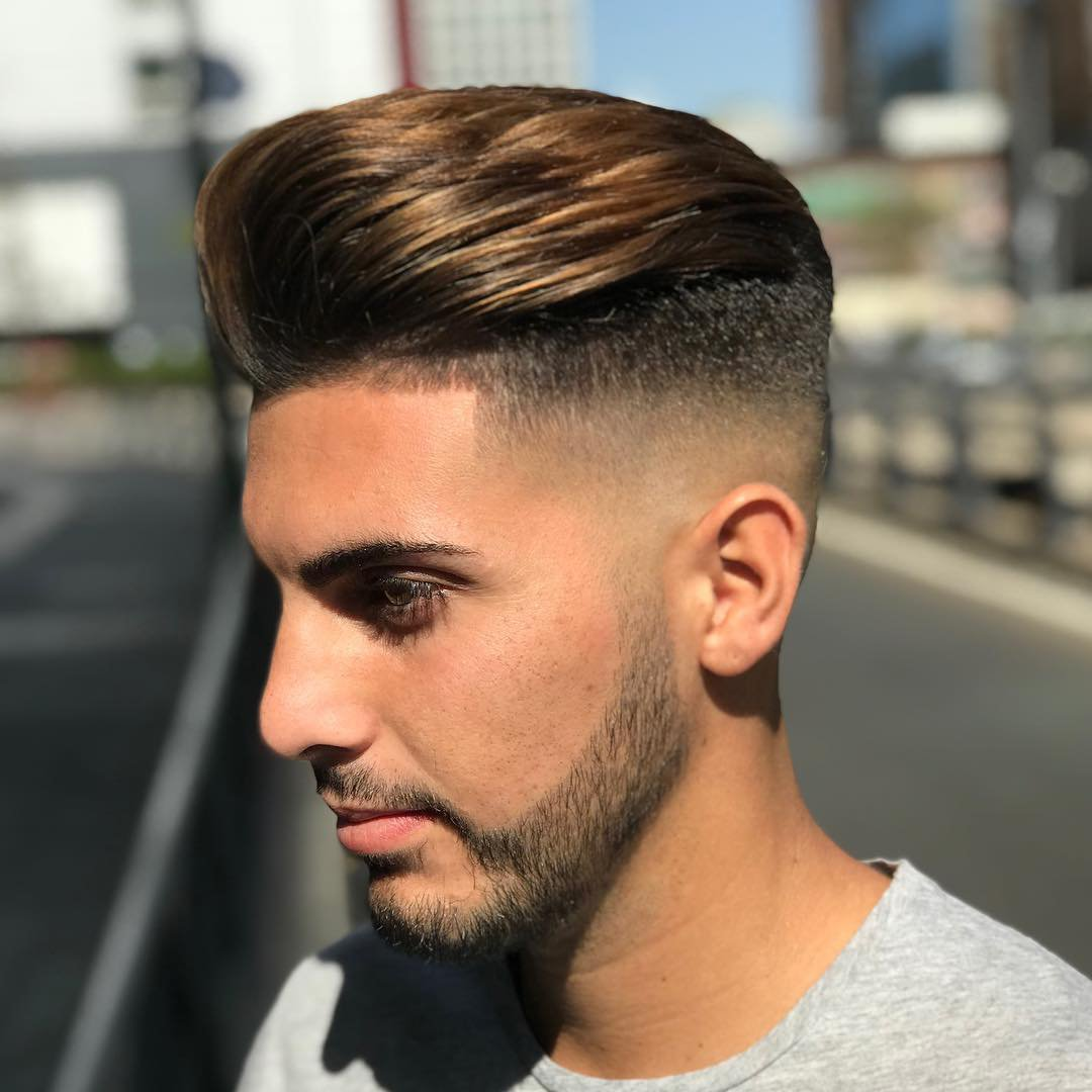 Slicked Back Haircut with fade and High Fade with Quiff